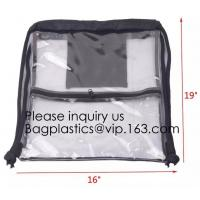 Quality Clear Drawstring Bag - PVC Drawstring Backpack with Mesh Side Pockets for School for sale