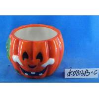 China Pumpkin Small Ceramic Flower Pots Ghost Design 15 X 15 X 15 Cm For Halloween wholesale