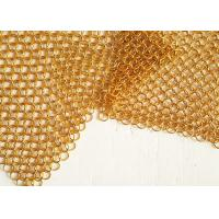 China Architectural Drapery Metal Ring Mesh With Gold Colors For Isolation Wall Screen wholesale