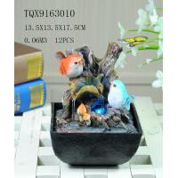 China Bird On Bush Resin Small Outdoor Water Fountains With Circling Water Highlight wholesale