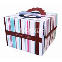 China OEM Corrugated Cardboard Boxes , Custom Birthday Cake Box with carry handles wholesale