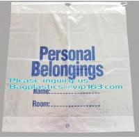 China Dissolvable Laundry Bags Drawstring Patient Belongings Bag With Rigid Handle on sale