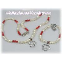 Quality Flower girl & boy pearl and coral beads necklace bracelet set for sale