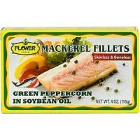 Quality Flower Brand Mackerel Fillets with Green Peppercorn in Soybean Oil 4oz. for sale