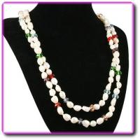 Quality Long Rope Freshwater Pearl Necklace with coloured beads for sale