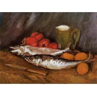 Quality Still Life with Mackerels, Lemons and Tomatoes for sale