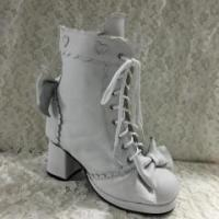 China Lolita Long Coats Antaina Sweet White Real Cow Leather Lolita Heels Boots wholesale