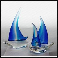 China Handmade Glass Sailing Boat Award Trophy wholesale