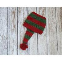 China Christmas stocking hat for baby, cotton hat in red and green, crochet hat wholesale