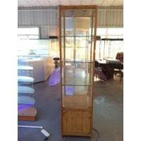 China 19.6 Trophy Display Case w/ Side Lights, Mirror Deck & Locking Hinged Door - Bamboo wholesale