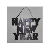 """China GLITTER HAPPY NEW YEAR"""" SIGN WITH RIBBON HANGER wholesale"""