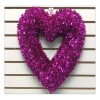 China Valentine's Day Wreath RED Heart Tinsel Ornaments Hanging Door Wreath wholesale