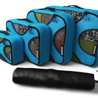 China Packing Cubes  4-Piece Set Travel Organizer with Laundry Bag-Aqua Teal Color wholesale
