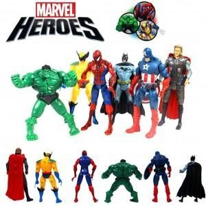 Quality 6pcs The Avengers Kid Character Figures Toy Batman Spiderman Thor Wolverine Hulk $8.95 for sale