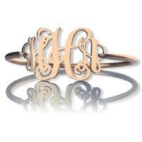 Buy cheap Rose Gold Monogram Initial Bangle Bracelet 1.25 Inch from wholesalers