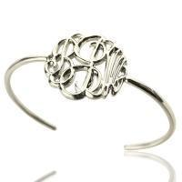 Buy cheap Personalized Monogram Bangle Bracelet Hand-painted Silver from wholesalers