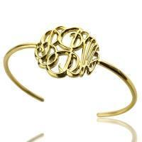 Buy cheap 18K Gold Plated Monogram Bangle Bracelet Hand-painted from wholesalers