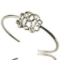 Buy cheap Celebrity Monogrammed Initial Bangle Bracelet Sterling Silver from wholesalers