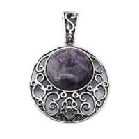 China Natural Amethyst 20MM Cabochon Alloy Gemstone Pendant wholesale