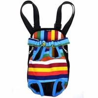 China Cosmos Small Size Colorful Strip Pattern Pet Dog Legs Out Front Carrier Bag on sale
