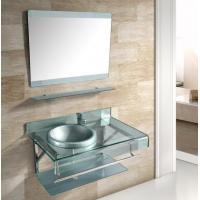 China 90cm silver bathroom vanity with bowl sink and 304 stainless steel rack on sale