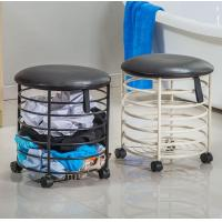 China Bathroom Used Removable Black Round Shape Dirty Clothes Metal Laundry Storage Basket With Lid wholesale