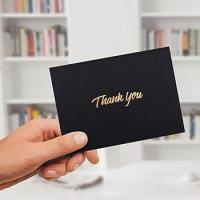 Buy cheap 100 Thank You Cards - Black Bulk Note Cards with Gold Foil Embossed Letters from wholesalers