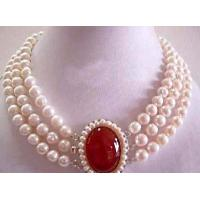 Quality Junoesque 3 Row White Pearl Red Jade Clasp Neckl for sale